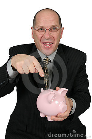 Business Man Pointing to Piggy Bank