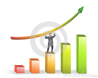 Business man and positive statistics