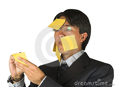 Business man with post it notes