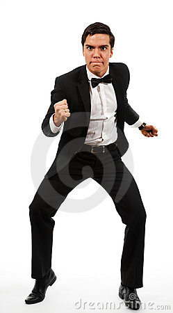 Business man prepared to fight