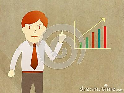 Business man present  growth progress graph