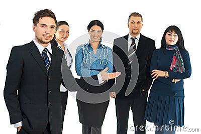 Business man presenting his teamwork