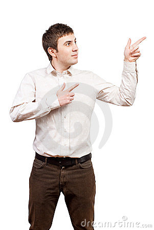 Business man presenting and showing isolated