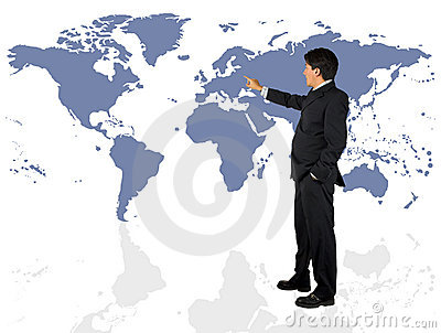 Business man presenting a world map