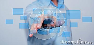 Business man pressing a  button