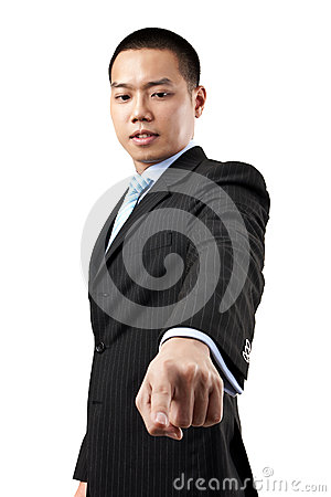 Business man pressing an imaginary button