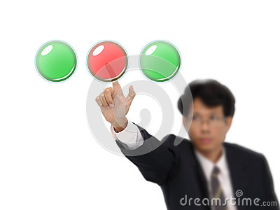 Business man push red button.