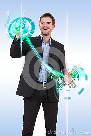 Business man pushing  progress buttons