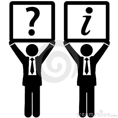 Business man question answer information signs