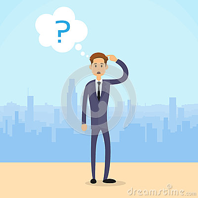 Free Business Man Question Mark Concept City Skyscraper Stock Photography - 56878542