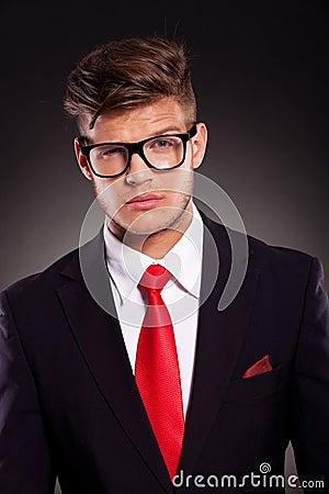 Business man with raised eyebrow