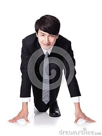 Business man ready to start running