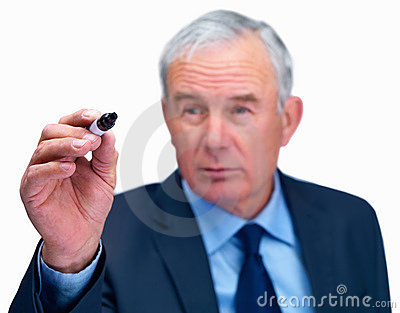 Business man ready to write with black marker