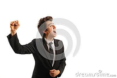 Business man  rejoicing after success