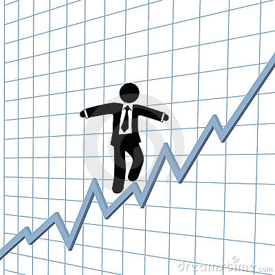 Business man risk tightrope growth chart