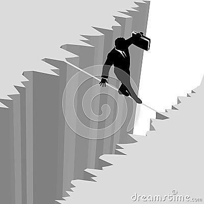 Business man on risk tightrope over cliff danger
