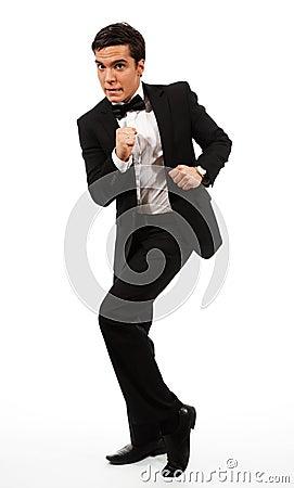 Business man run away