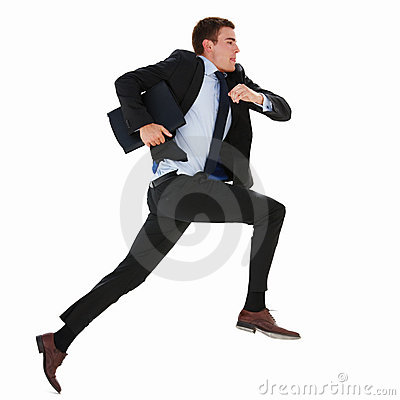 Business man running on isolated white