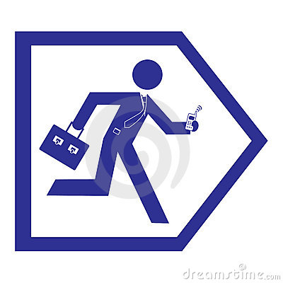 Business man running sign