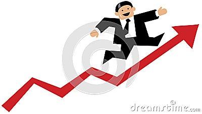 Business man running up a red arrow