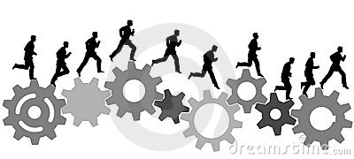 Business man runs on industrial machine gears