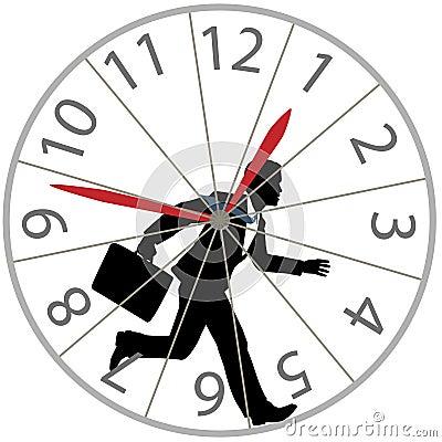 Business man runs rat race in hamster wheel clock