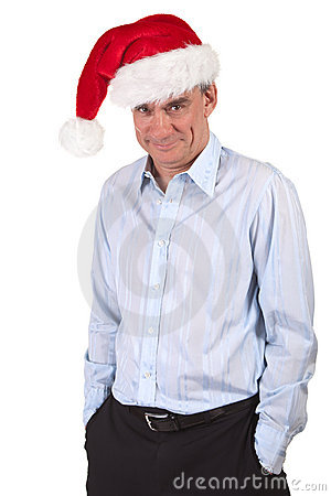 Business Man in Santa Hat with Cheeky Grin