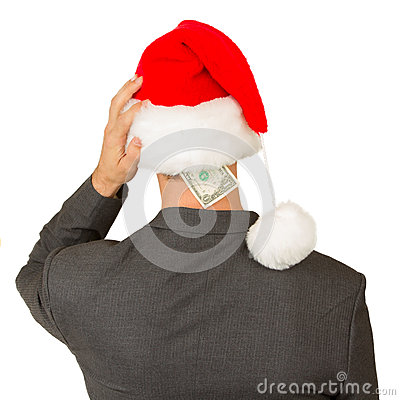 Business man with a santa hat, santa s crisis budget