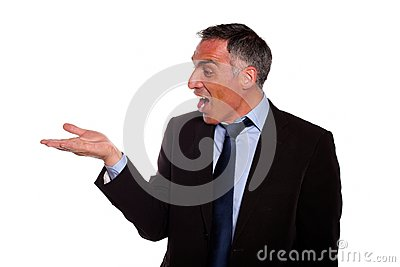 Business man screaming with extended hand