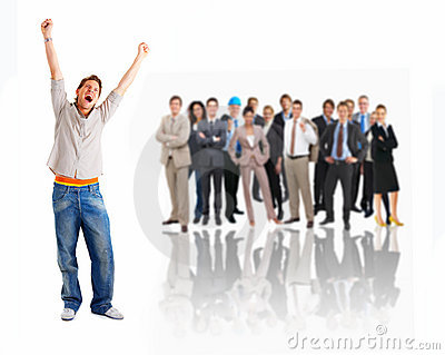 Business Man Screaming In Joy In Front Of Group Royalty Free Stock Photo - Image: 8082625