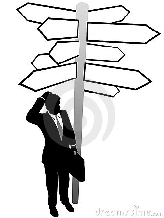 Business man search decision directions signs
