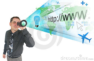 Business Man Searching on Projected Internet