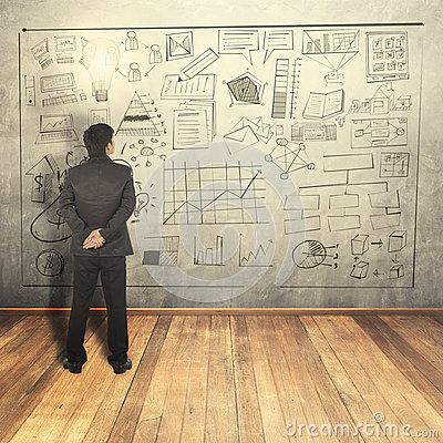 Free Business Man See At Business Concept On Wall Royalty Free Stock Image - 45746236