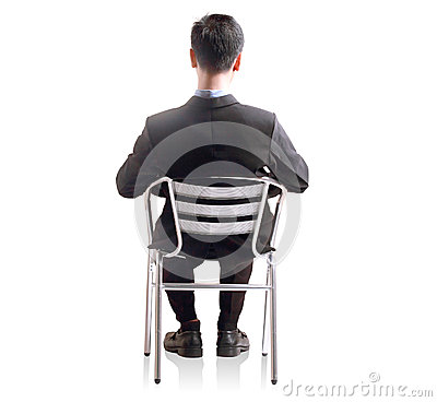 Business man shit down in single chair