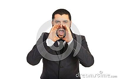 Business man shouting