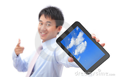 Business man show tablet pc with smile