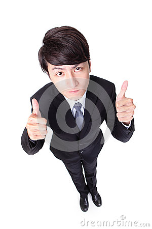 Business man show thumb up in full length