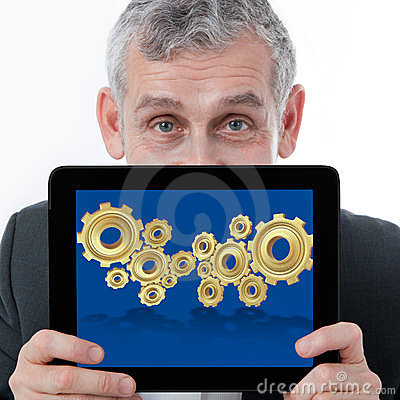 Business man showing 3D gear for collab