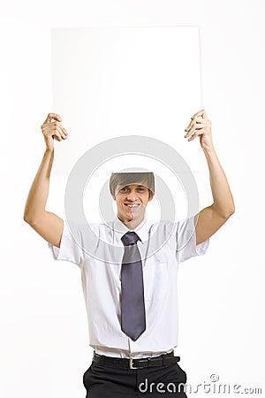 Business man showing a blank board