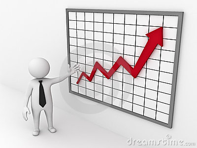 Business man showing growth graph chart