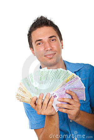 Free Business Man Showing Handful Of Money Royalty Free Stock Images - 15598329