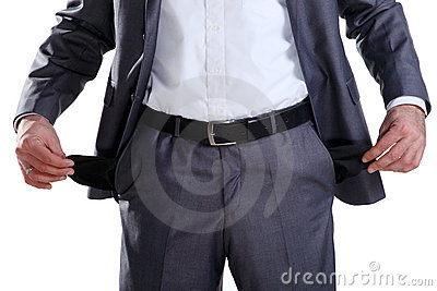 Business man showing his empty pockets 2