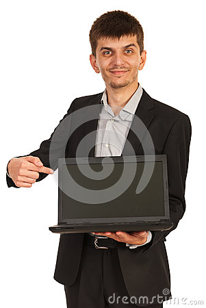 Business man showing laptop screen