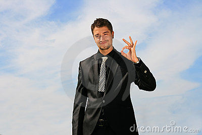 Business man showing okay sign