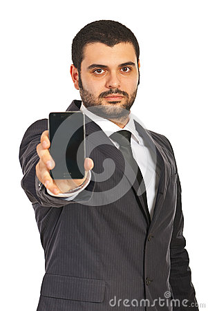Business man showing phone display