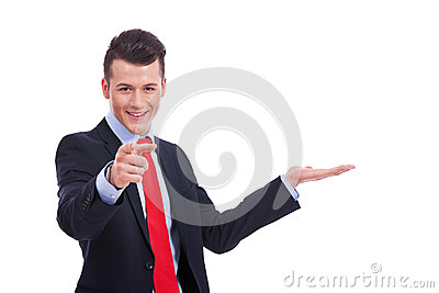 Business man showing and pointing