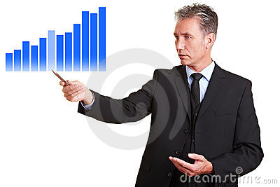 Business man showing statistics