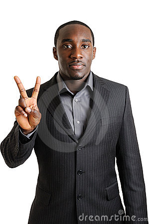 Business man showing two fingers