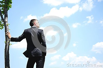Business man on sky