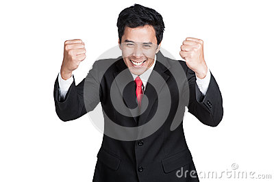 Business man smart happy sucess suit isolated